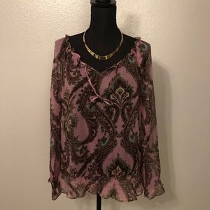 Jewel tone peasant shirt **FREE NECKLACE INCLUDED*